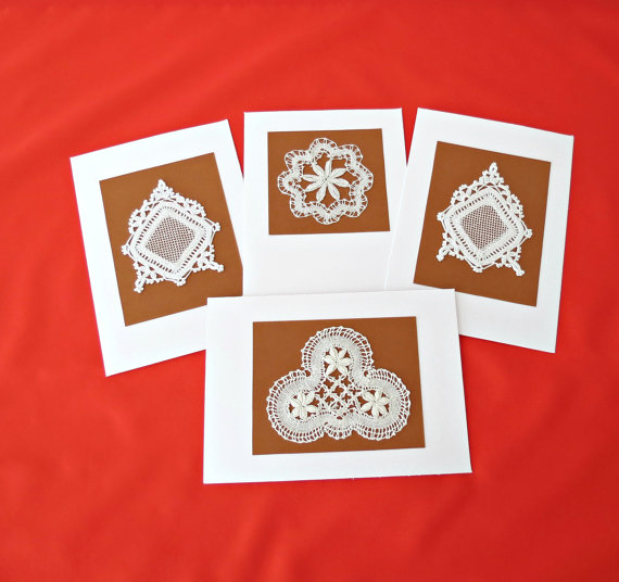 Vintage Lace Blank GREETING CARDS (Set of 4)