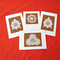 BLANK GREETING CARDS WITH VINTAGE LACE(Set of 4)