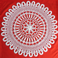 "WHITE CROCHET DOILY - Large Round Lace Doily (24"")"