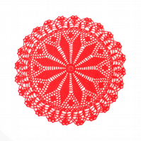 "RED CROCHET DOILY - Round Lace Doily (15"")"