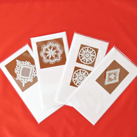 HANDMADE CARDS WITH VINTAGE LACE AND CROCHET APPLIQUES (Set of 4)