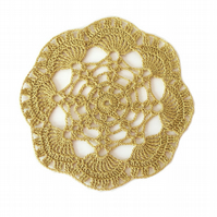 "LIGHT BROWN CROCHET DOILY - ROUND LACE DOILY (6.5"")"