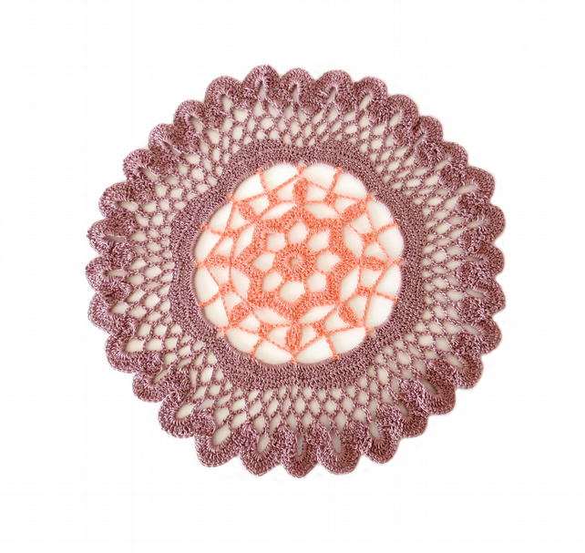 "VIOLET AND PINK CROCHET DOILY - ROUND LACE DOILY (10.5"")"