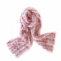 "SOFT CROCHET SCARF IN LIGHT PINK AND PINK-CREAM EYELASH YARN (66"" x 9"")"