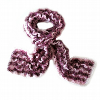 "VIOLET AND PINK WINTER CROCHET SCARF (83"" x 6"")"