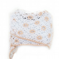 "CROCHET SCARF IN WHITE WITH CREAM PINK DESIGN (72"" X 12"")"