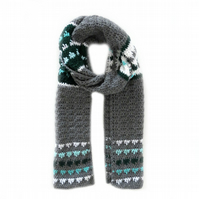 "CROCHET SCARF FOR MEN IN GREY, GREEN AND WHITE (77"" x 10"")"