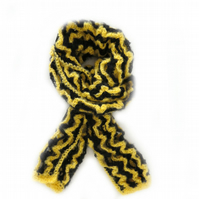 "YELLOW AND BLACK CROCHET SCARF (80"" X 9"")"