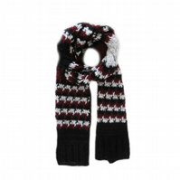 "CROCHET SCARF FOR MEN (72"" x 11"") IN DARK RED, BLACK AND GREY"
