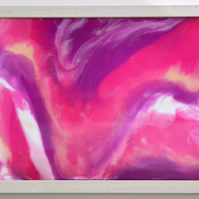 """Pink and White Abstract 1"" in acrylic ink and resin"