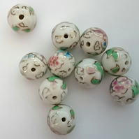 Vintage 90's Chinese Porcelain Beads -  loose x 10 - white floral