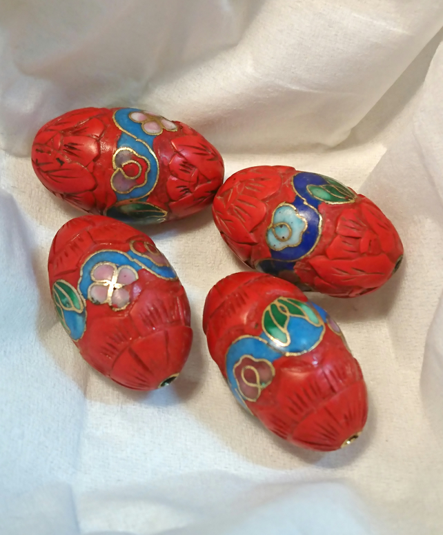 Vintage 90's Chinese Cinnebar Beads -  loose x 4 - red with cloisonne enamel