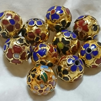 Vintage 90's Chinese Cloisonne Beads -  loose x 10 - gold floral