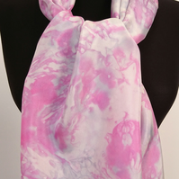 'Fabulous Fuschia' - Bright Pink and Soft Platinum Hand Painted Silk Scarf