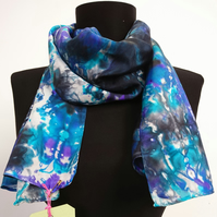 Purple, Turquoise and Black - Hand Painted 100% Silk Scarf
