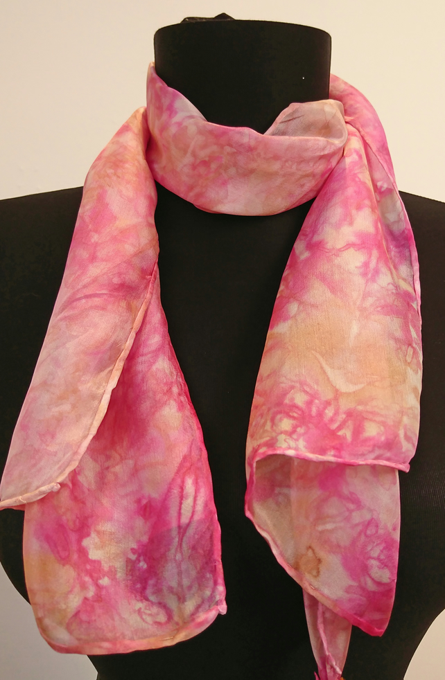 'Cabbage Rose' - Hand Painted Silk Scarf in rose pink and brown