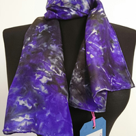 'Black and Purple' - Hand Painted Silk Scarf in rich purple and black
