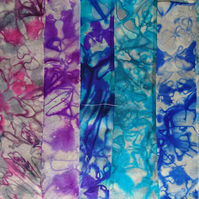 "Pack of 6 hand dyed silk fabric 9"" squares for crafts, patchwork, card-making..."