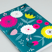 Mid century inspired teal floral notebook A6