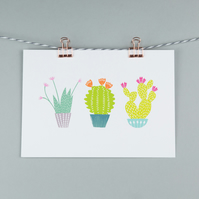 Trio of cactus plants, A5 print