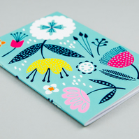 Duck egg blue floral notebook A6, inspired by mid century design