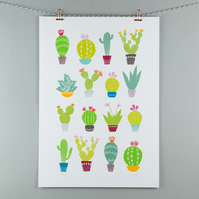 A3 cactus illustration print