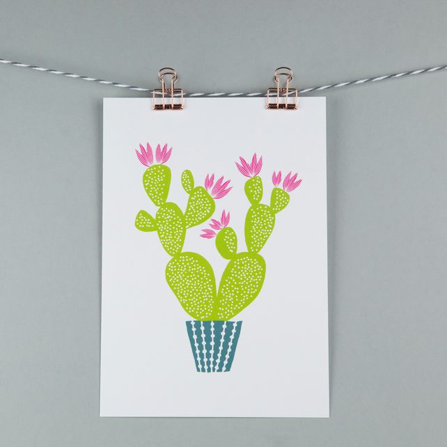 Prickly pear cactus plant, A5 print