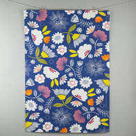 Deep blue floral tea towel