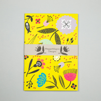 Mustard yellow floral notebook A5