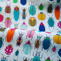 Insect tea towel, bright & colourful beetle pattern