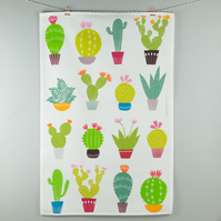 Colourful contemporary cactus tea towel
