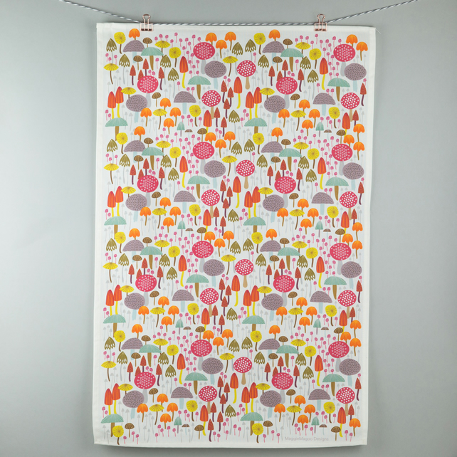 Toadstools and mushrooms tea towel