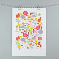 Toadstools and mushrooms giclee print A4