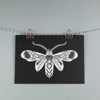 Moth illustration, folk art A5 print
