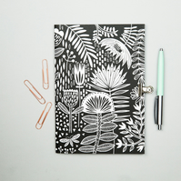 Black and white folk floral A5 notebook