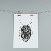 Black beetle folk art illustration, A5 print