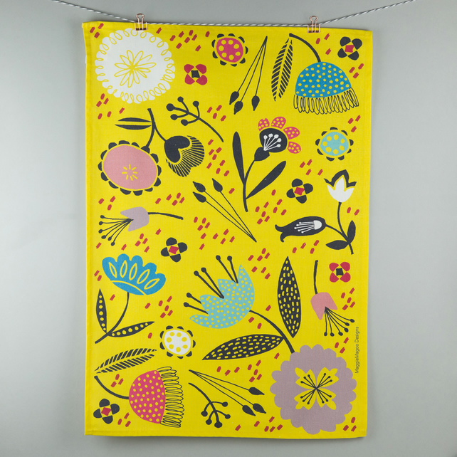 Mustard yellow floral printed tea towel