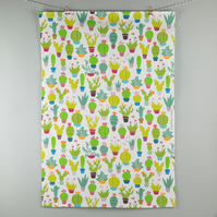 Contemporary graphic cactus pattern tea towel