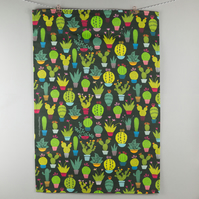 Printed dark cactus pattern tea towel