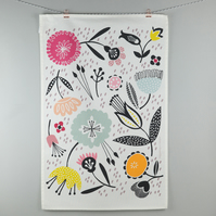 Mid century design floral tea towel