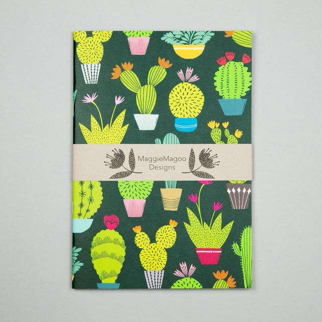 Dark cactus pattern notebook A5,