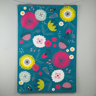 Bold teal floral printed tea towel
