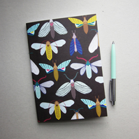 Moth and butterfly pattern notebook A5,