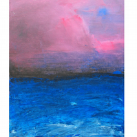 Stormy night at sea original painting. Wall art. Nature art. FREE shipping