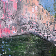 Collage of Venetian canal. Acrylic on black and white photocopy and canvas.