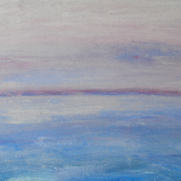 Hazy sky over the horizon. Acrylic on canvas. 41 x 33cm. FREE shipping