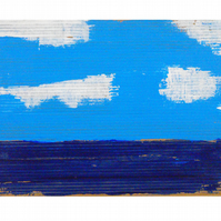 Blue sky, blue sea, few clouds. Original painting. FREE shipping