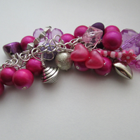 Pink and Lilac and silver Bag Charm