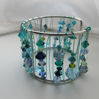 Turquoise Swarovski Crystal Cuff Bangle