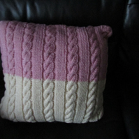 Pink and Cream Arran Cable Cushion Cover